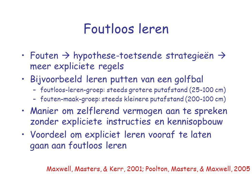 Foutloos leren Fouten  hypothese-toetsende strategieën  meer expliciete regels. Bijvoorbeeld leren putten van een golfbal.