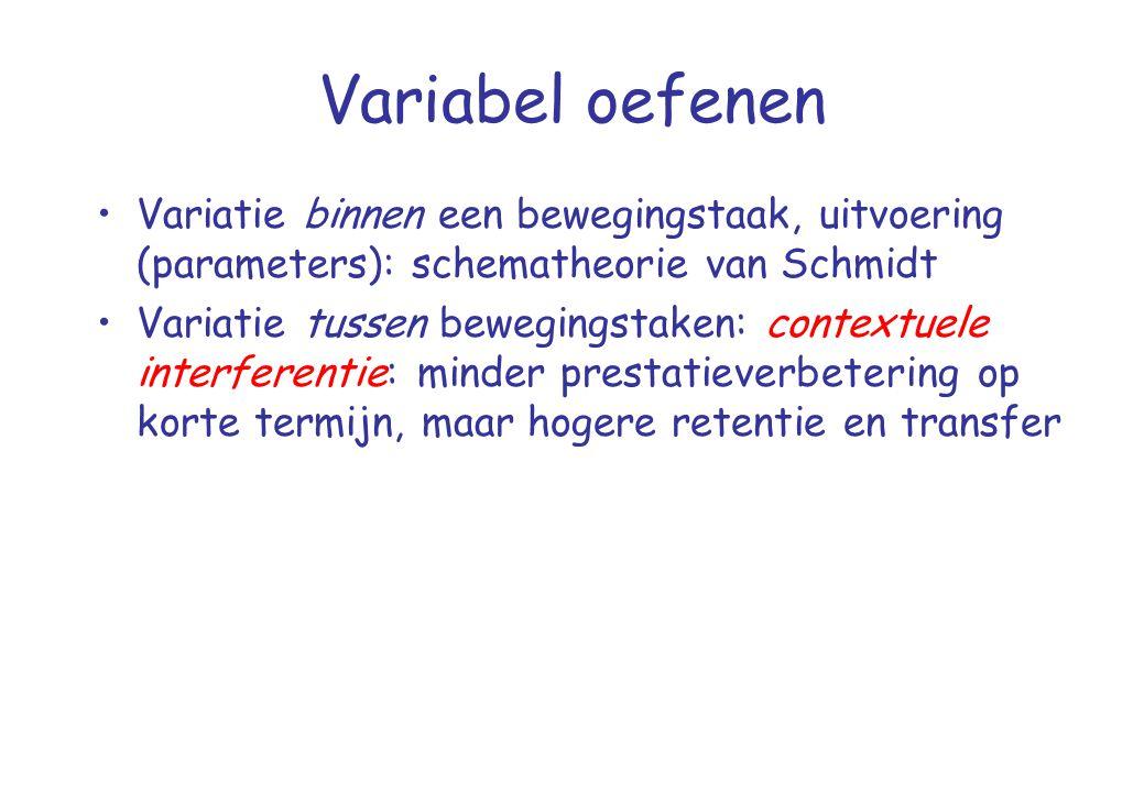 Variabel oefenen Variatie binnen een bewegingstaak, uitvoering (parameters): schematheorie van Schmidt.