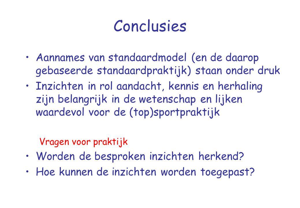 Conclusies Aannames van standaardmodel (en de daarop gebaseerde standaardpraktijk) staan onder druk.