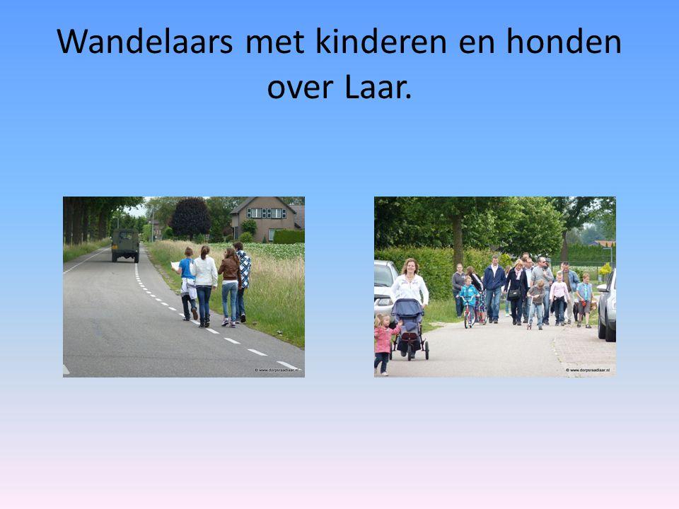 Wandelaars met kinderen en honden over Laar.