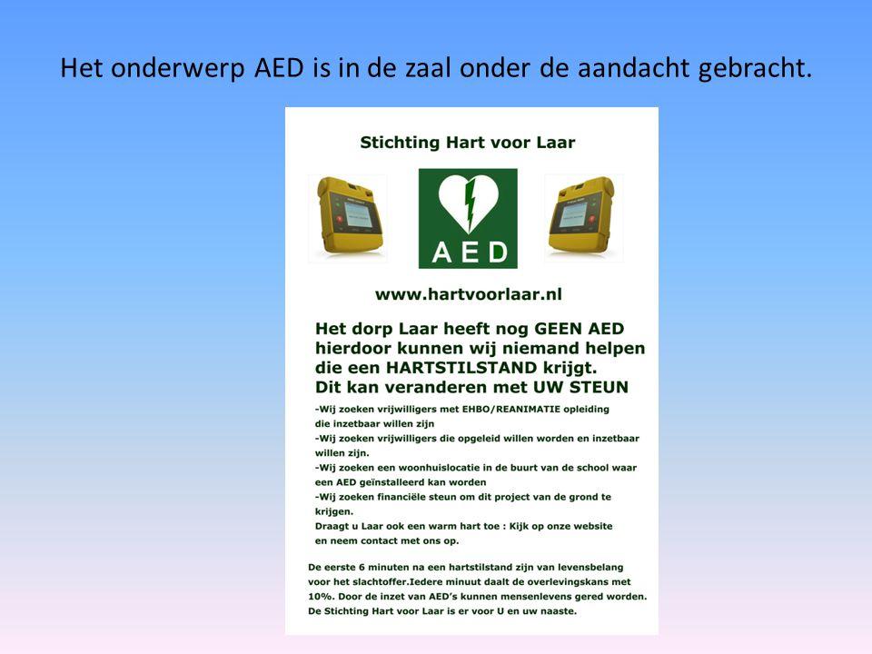 Het onderwerp AED is in de zaal onder de aandacht gebracht.