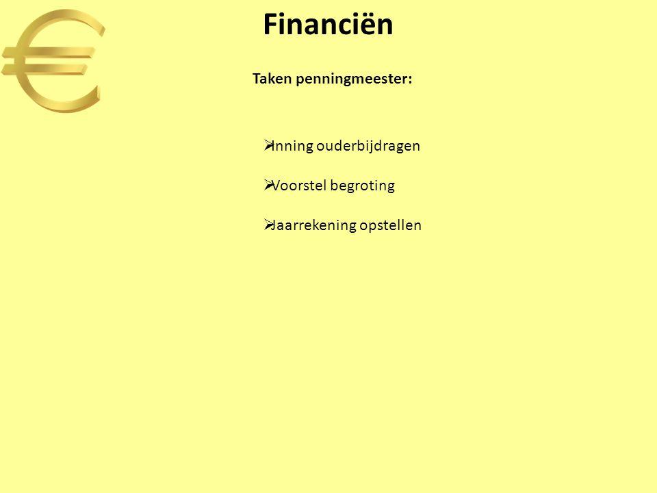 Financiën Taken penningmeester: Inning ouderbijdragen