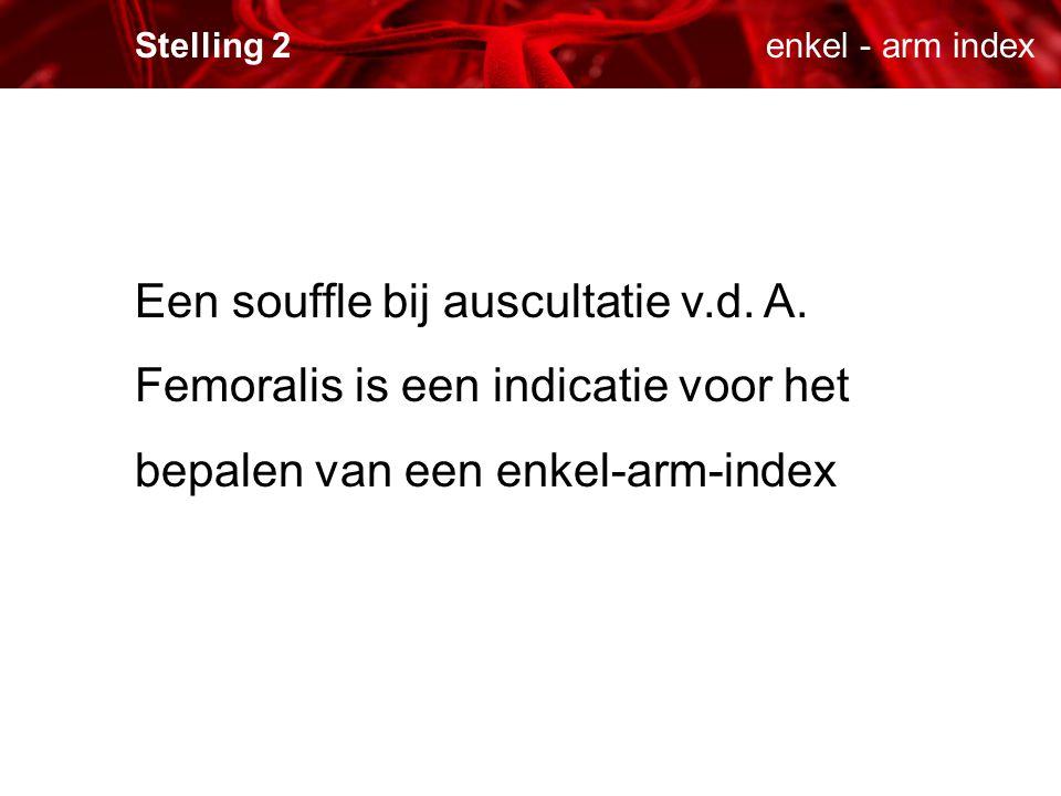 enkel - arm index Stelling 2. Een souffle bij auscultatie v.d.