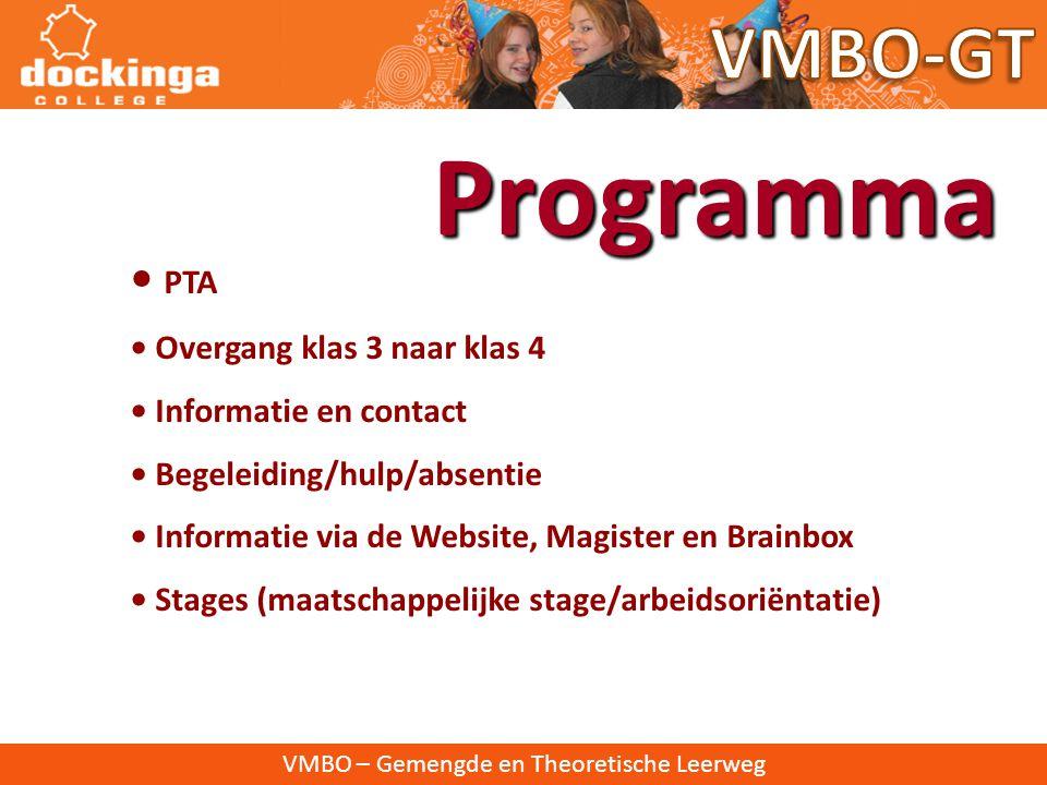 Programma VMBO-GT • PTA • Overgang klas 3 naar klas 4