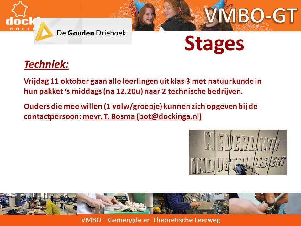 VMBO-GT Stages Techniek: