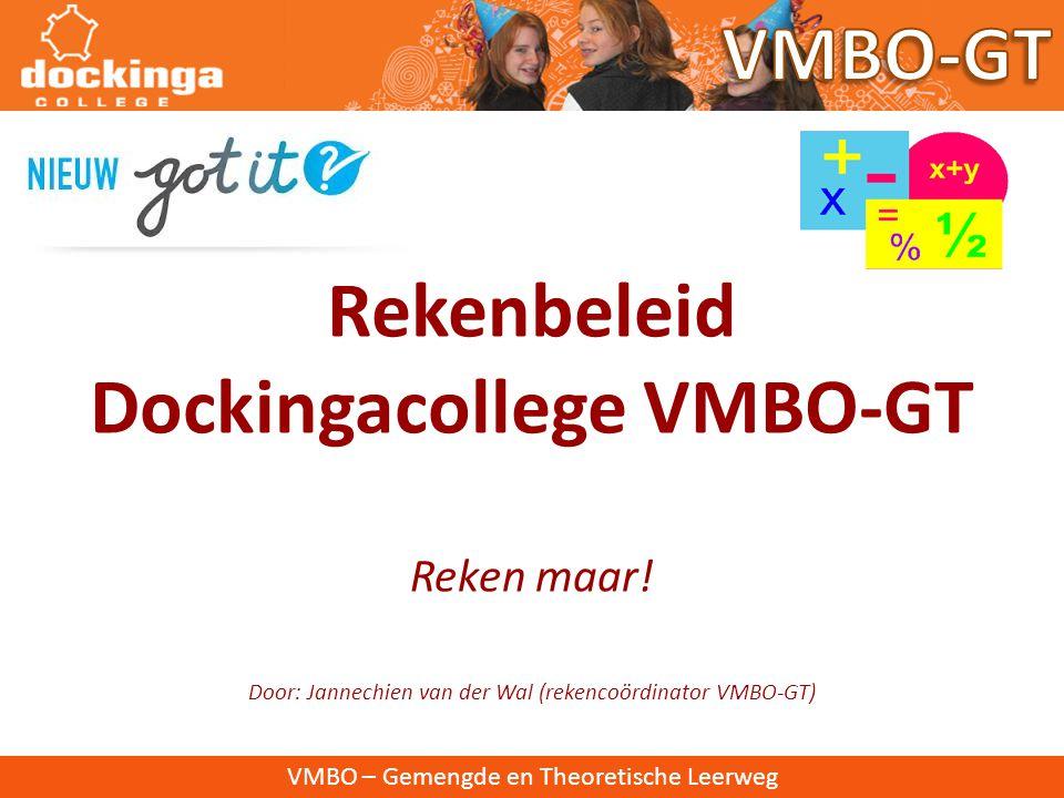 Reken maar! Door: Jannechien van der Wal (rekencoördinator VMBO-GT)
