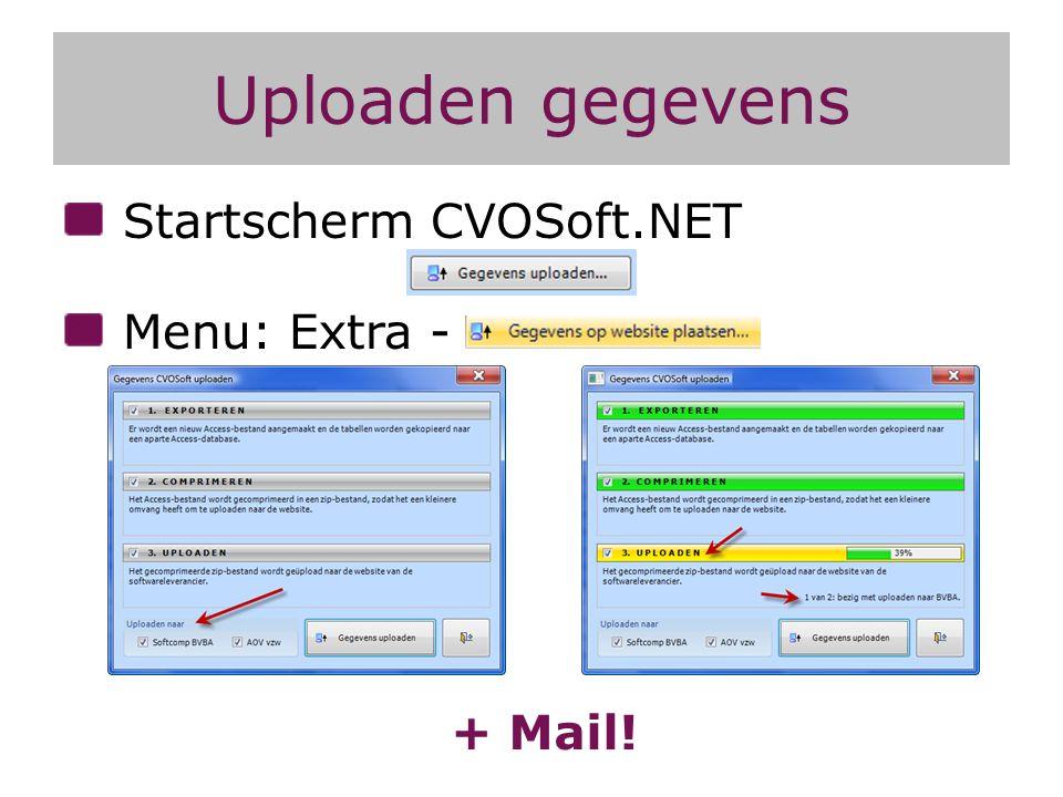 Uploaden gegevens Startscherm CVOSoft.NET Menu: Extra - + Mail!