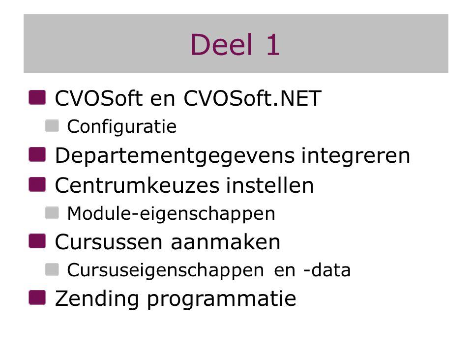 Deel 1 CVOSoft en CVOSoft.NET Departementgegevens integreren