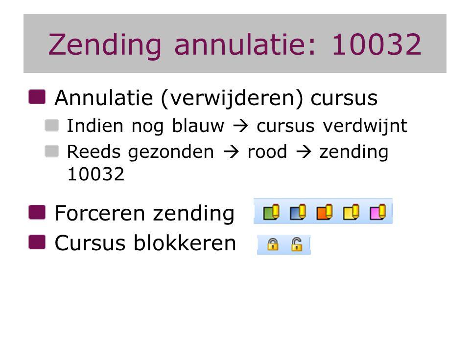 Zending annulatie: 10032 Annulatie (verwijderen) cursus