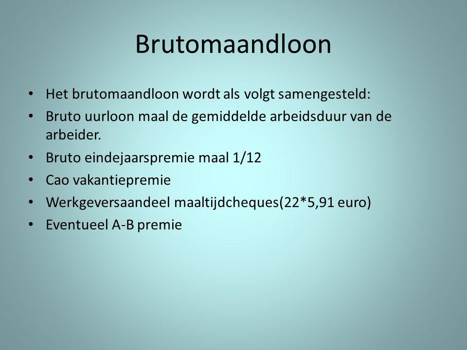 Brutomaandloon Het brutomaandloon wordt als volgt samengesteld: