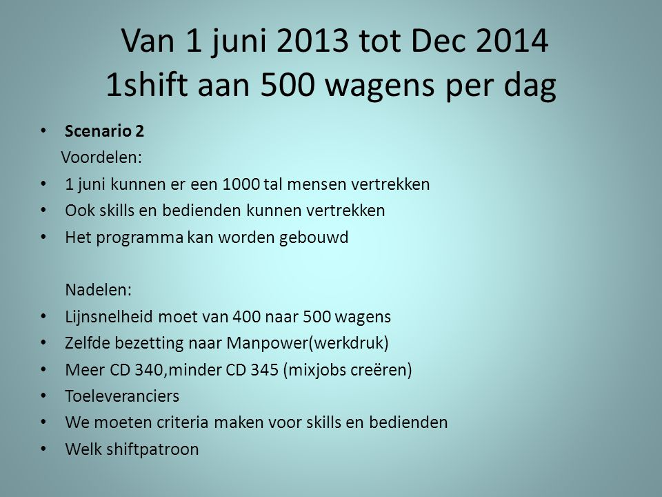 Van 1 juni 2013 tot Dec 2014 1shift aan 500 wagens per dag