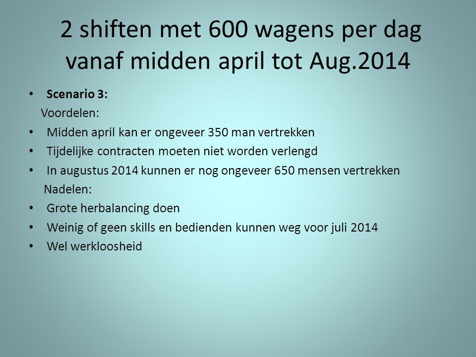 2 shiften met 600 wagens per dag vanaf midden april tot Aug.2014
