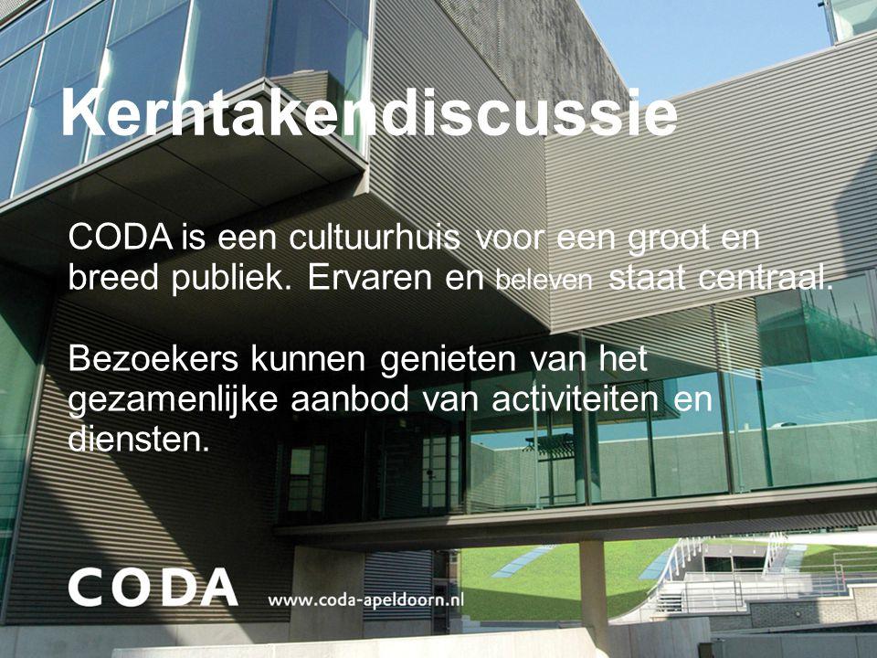 Kerntakendiscussie CODA is een cultuurhuis voor een groot en breed publiek. Ervaren en beleven staat centraal.