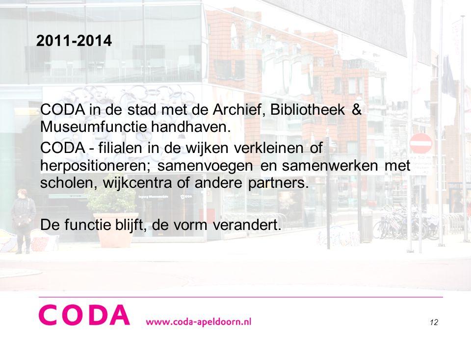 2011-2014 CODA in de stad met de Archief, Bibliotheek & Museumfunctie handhaven.