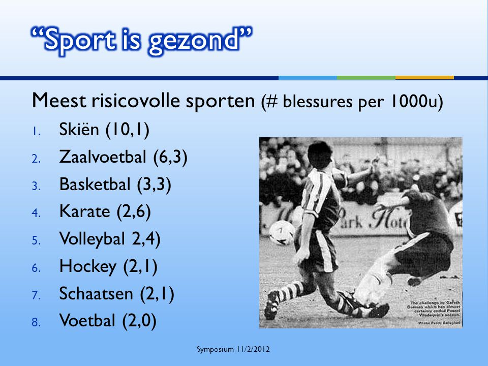 Sport is gezond Meest risicovolle sporten (# blessures per 1000u)