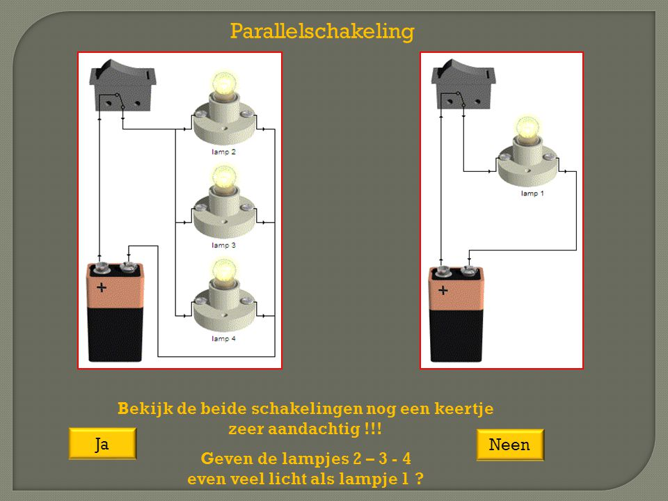Parallelschakeling Bekijk de beide schakelingen nog een keertje zeer aandachtig !!! Geven de lampjes 2 – 3 - 4 even veel licht als lampje 1