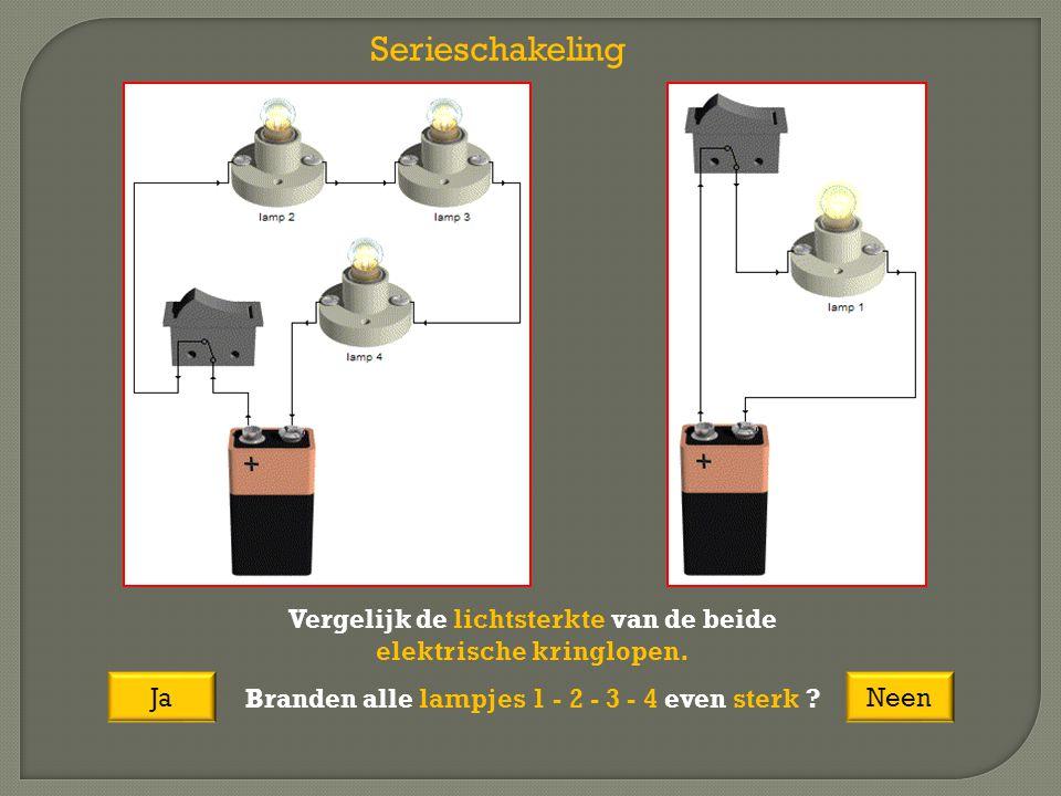 Serieschakeling Vergelijk de lichtsterkte van de beide elektrische kringlopen. Branden alle lampjes 1 - 2 - 3 - 4 even sterk