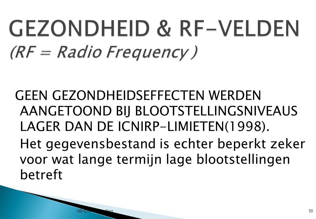 GEZONDHEID & RF-VELDEN (RF = Radio Frequency )