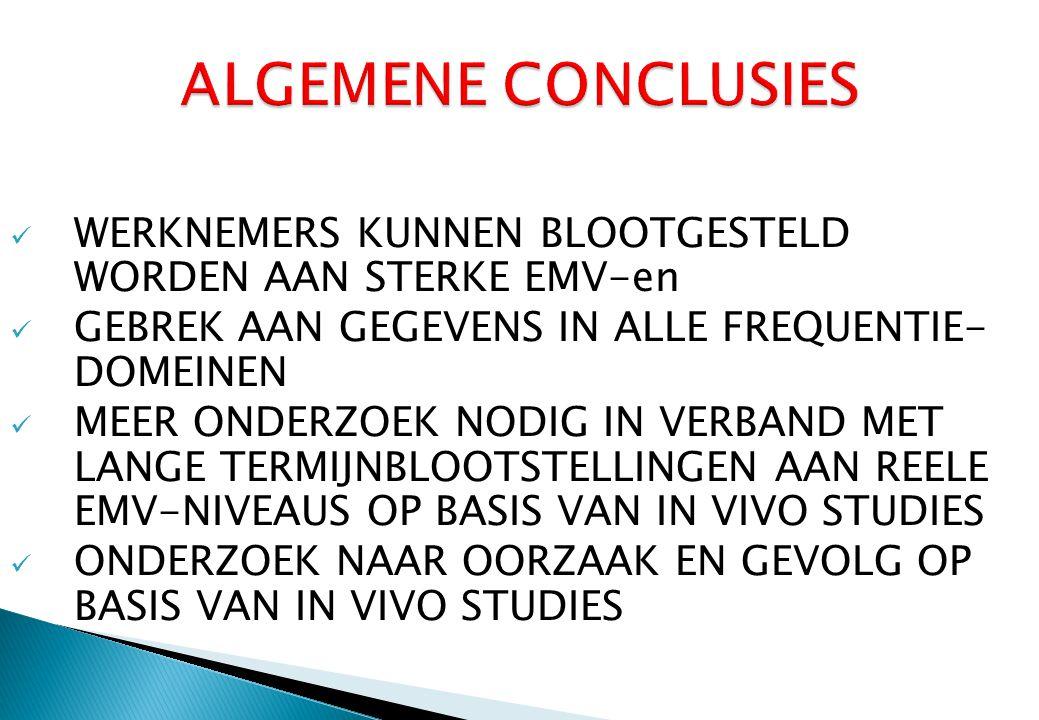 ALGEMENE CONCLUSIES WERKNEMERS KUNNEN BLOOTGESTELD WORDEN AAN STERKE EMV-en. GEBREK AAN GEGEVENS IN ALLE FREQUENTIE- DOMEINEN.
