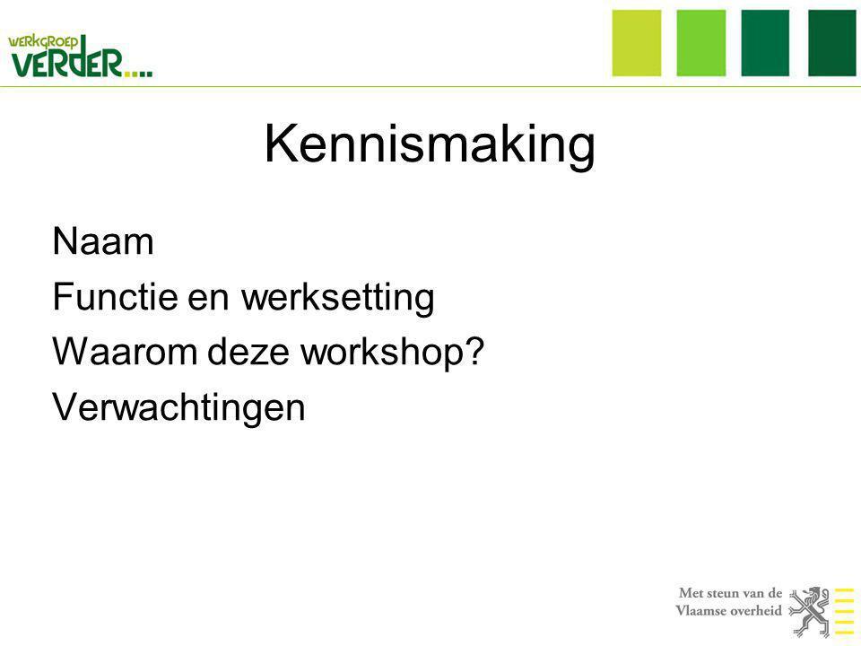 Kennismaking Naam Functie en werksetting Waarom deze workshop