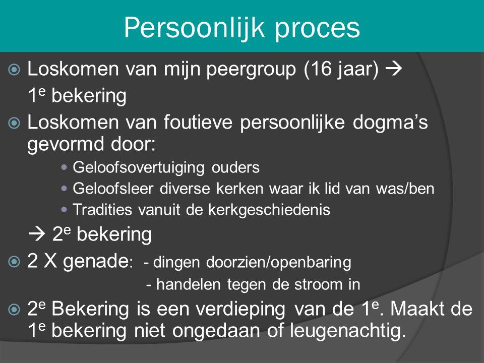 Persoonlijk proces Loskomen van mijn peergroup (16 jaar)  1e bekering