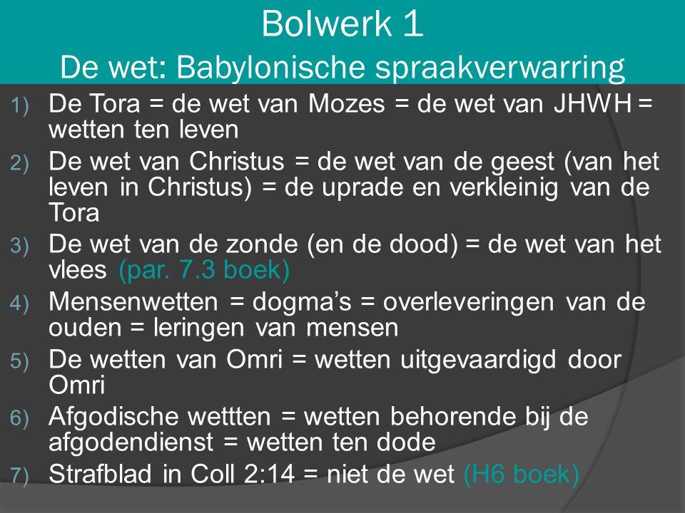 Bolwerk 1 De wet: Babylonische spraakverwarring