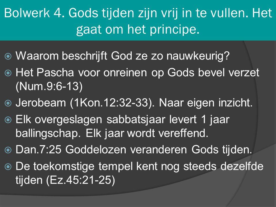 Bolwerk 4. Gods tijden zijn vrij in te vullen. Het gaat om het principe.