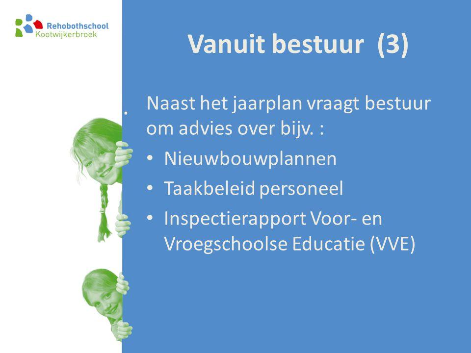 Vanuit bestuur (3) . Naast het jaarplan vraagt bestuur om advies over bijv. : Nieuwbouwplannen. Taakbeleid personeel.