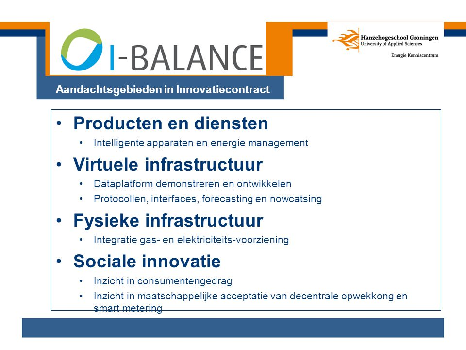 Aandachtsgebieden in Innovatiecontract