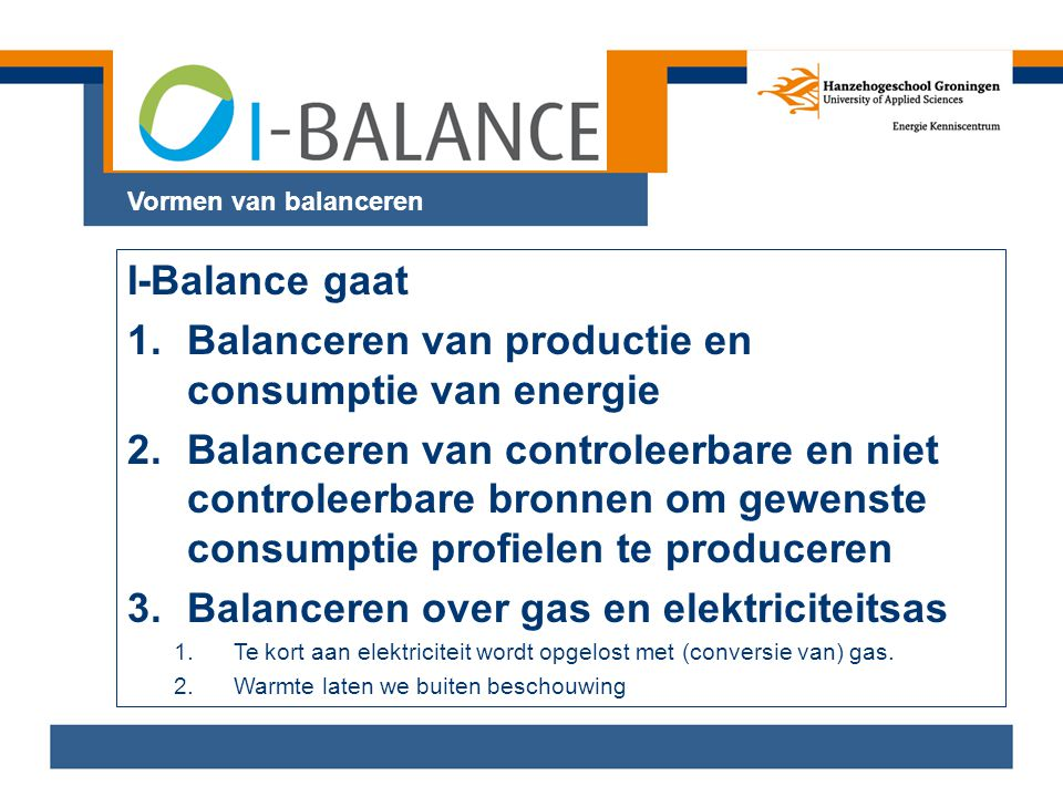 Balanceren van productie en consumptie van energie