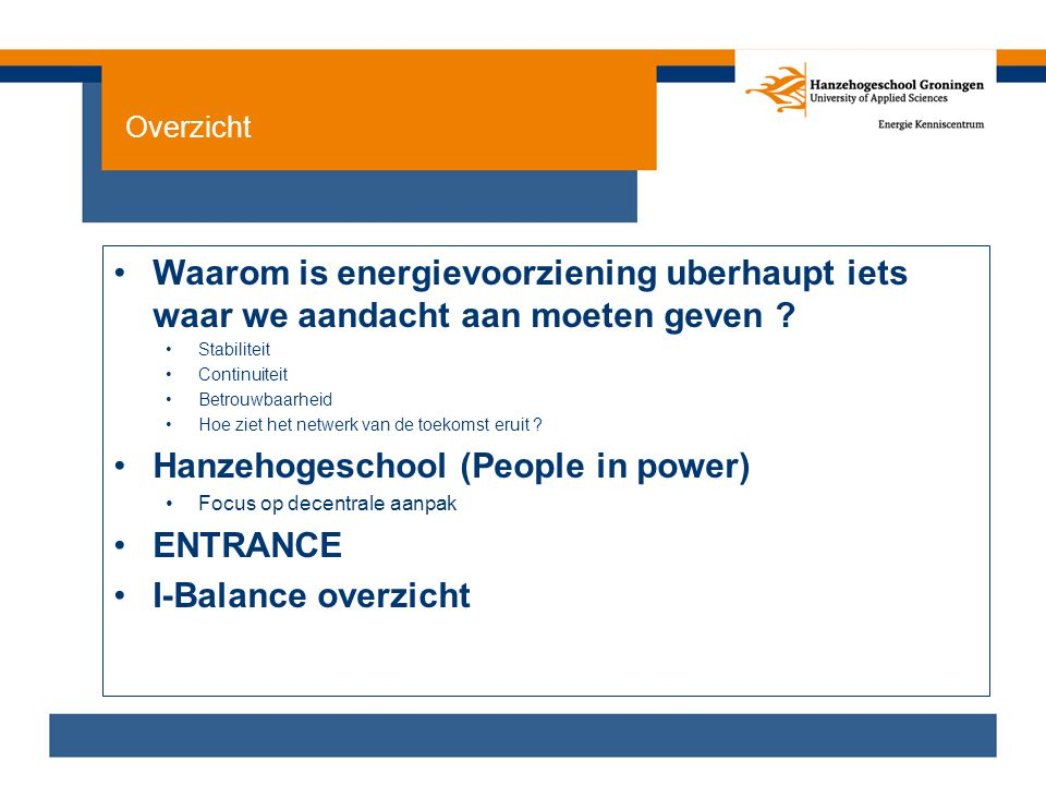 Hanzehogeschool (People in power) ENTRANCE I-Balance overzicht