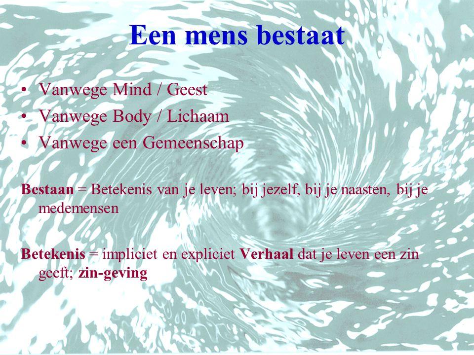 Een mens bestaat Vanwege Mind / Geest Vanwege Body / Lichaam