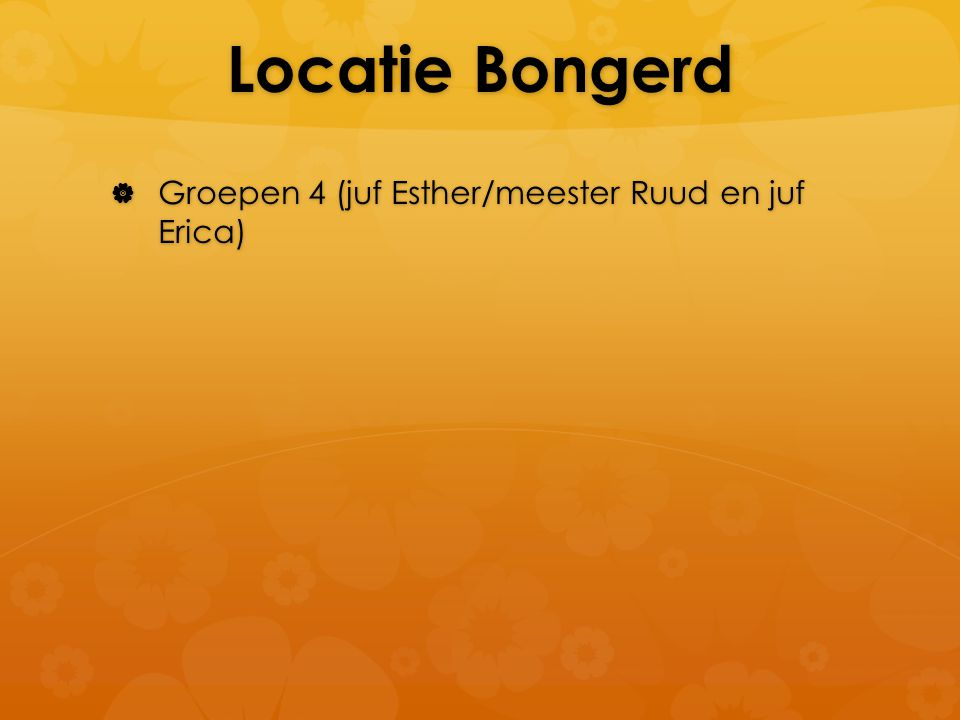 Locatie Bongerd Groepen 4 (juf Esther/meester Ruud en juf Erica)