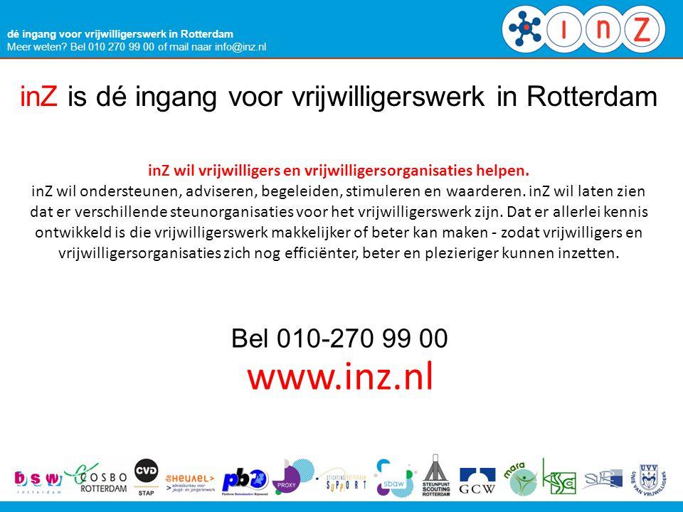 www.inz.nl inZ is dé ingang voor vrijwilligerswerk in Rotterdam