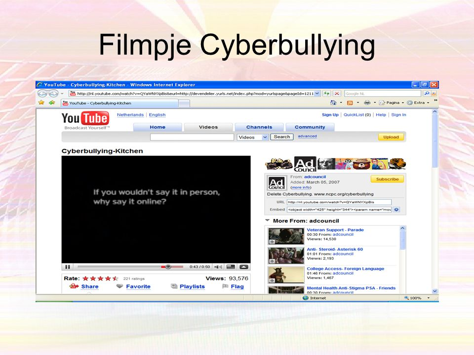 Filmpje Cyberbullying