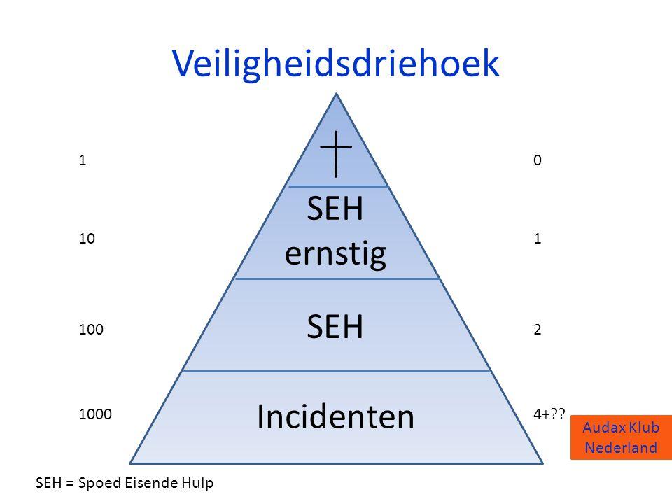 Veiligheidsdriehoek SEH ernstig SEH Incidenten 1 10 100 1000 1 2 4+