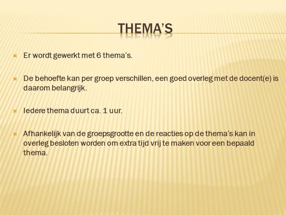 THEMA'S Er wordt gewerkt met 6 thema's.