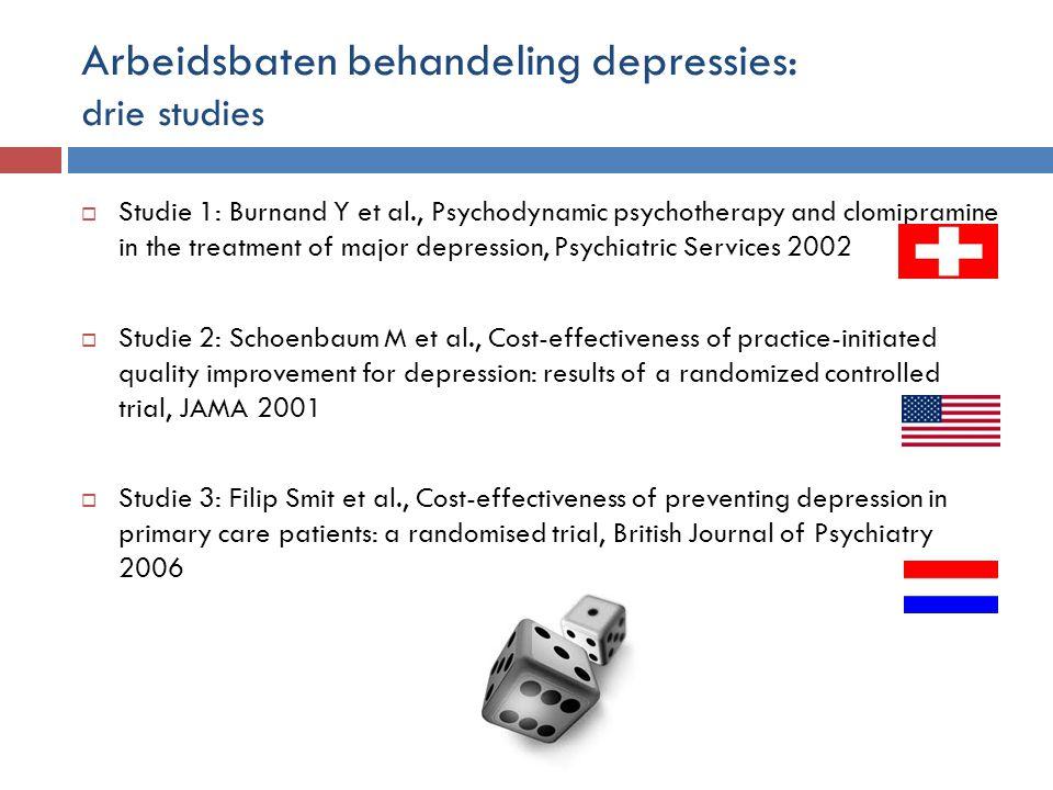 Arbeidsbaten behandeling depressies: drie studies