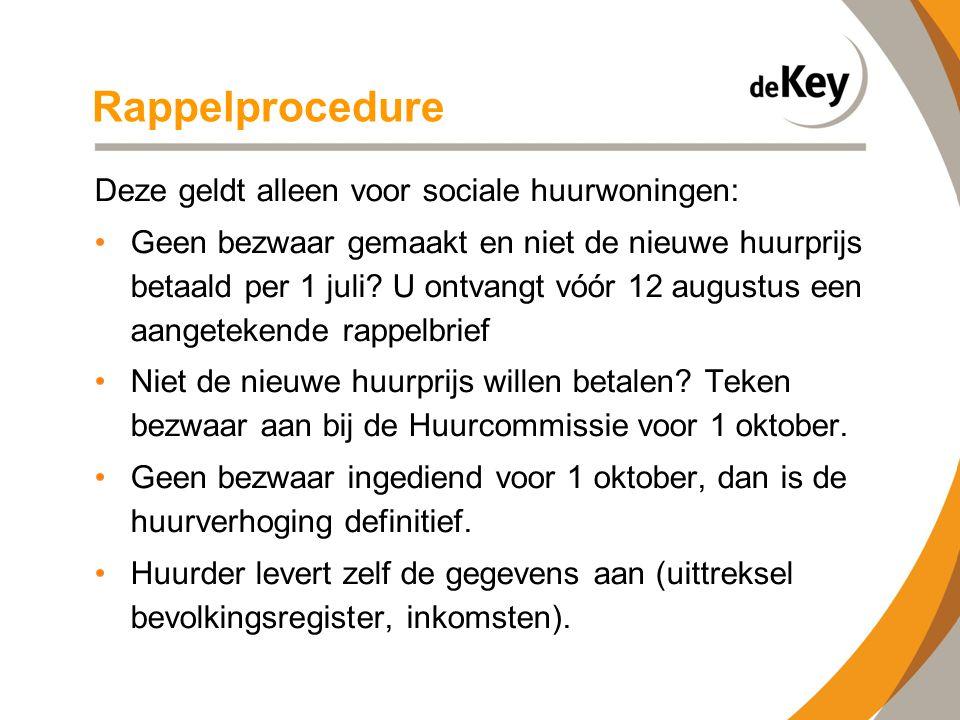 Rappelprocedure Deze geldt alleen voor sociale huurwoningen: