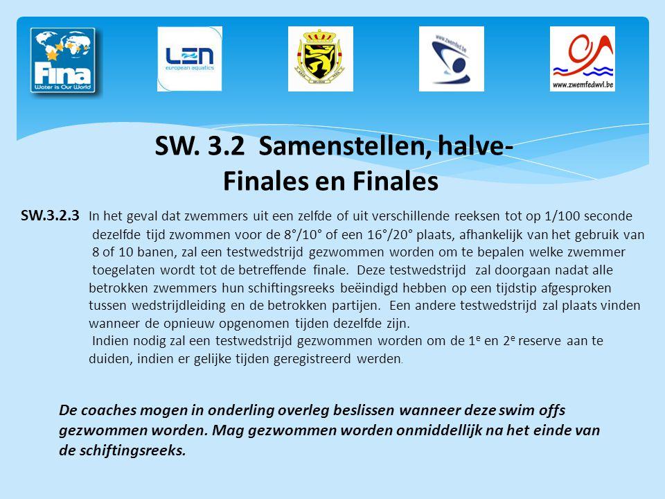 SW. 3.2 Samenstellen, halve-Finales en Finales