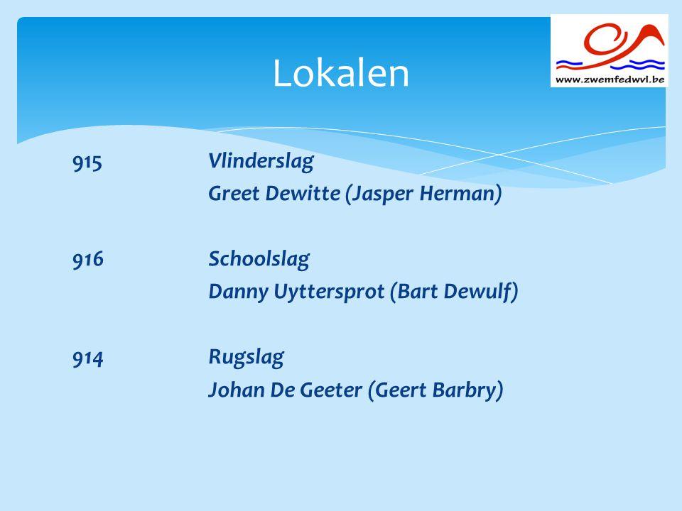 Lokalen 915 Vlinderslag Greet Dewitte (Jasper Herman) 916 Schoolslag Danny Uyttersprot (Bart Dewulf) 914 Rugslag Johan De Geeter (Geert Barbry)