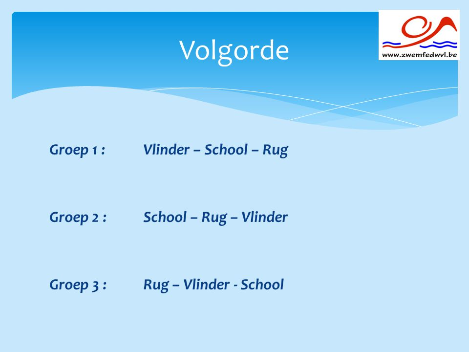 Volgorde Groep 1 : Vlinder – School – Rug Groep 2 : School – Rug – Vlinder Groep 3 : Rug – Vlinder - School