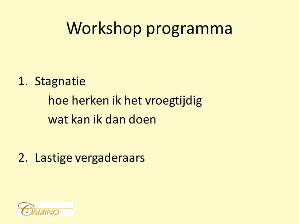 Workshop programma Stagnatie hoe herken ik het vroegtijdig