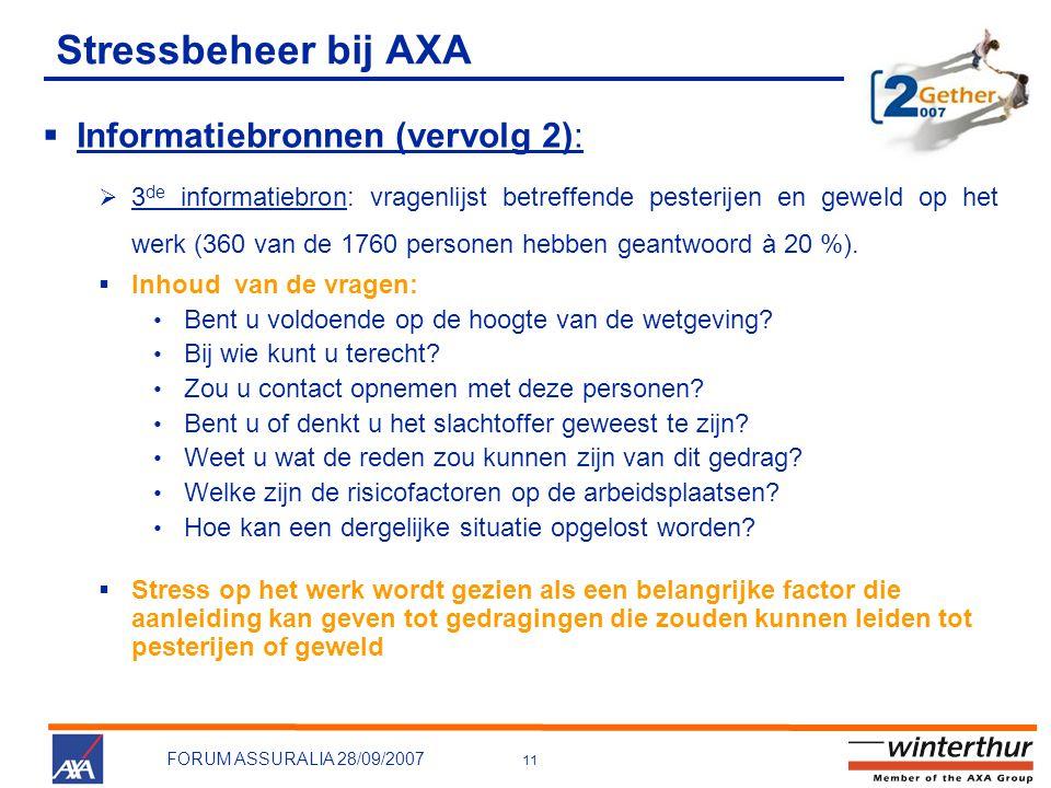 Stressbeheer bij AXA Informatiebronnen (vervolg 2):