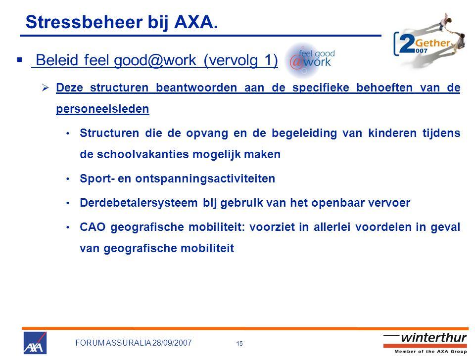 Stressbeheer bij AXA. Beleid feel good@work (vervolg 1)