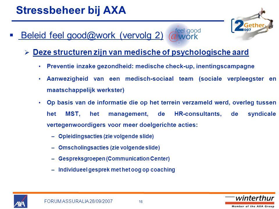 Stressbeheer bij AXA Beleid feel good@work (vervolg 2)