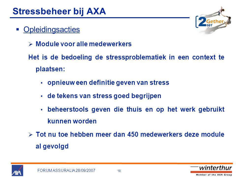Stressbeheer bij AXA Opleidingsacties Module voor alle medewerkers