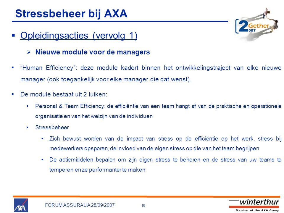 Stressbeheer bij AXA Opleidingsacties (vervolg 1)