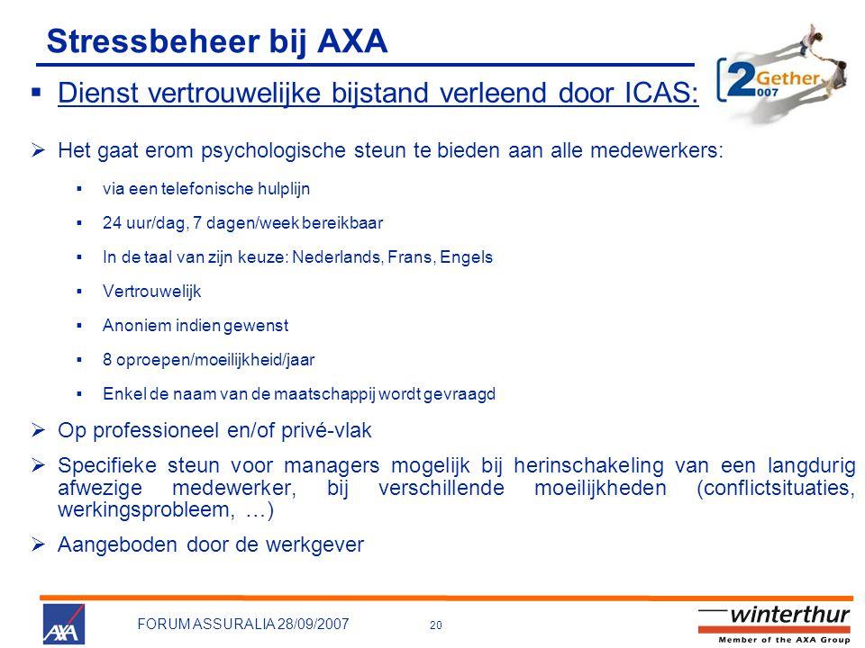 Stressbeheer bij AXA Dienst vertrouwelijke bijstand verleend door ICAS: Het gaat erom psychologische steun te bieden aan alle medewerkers:
