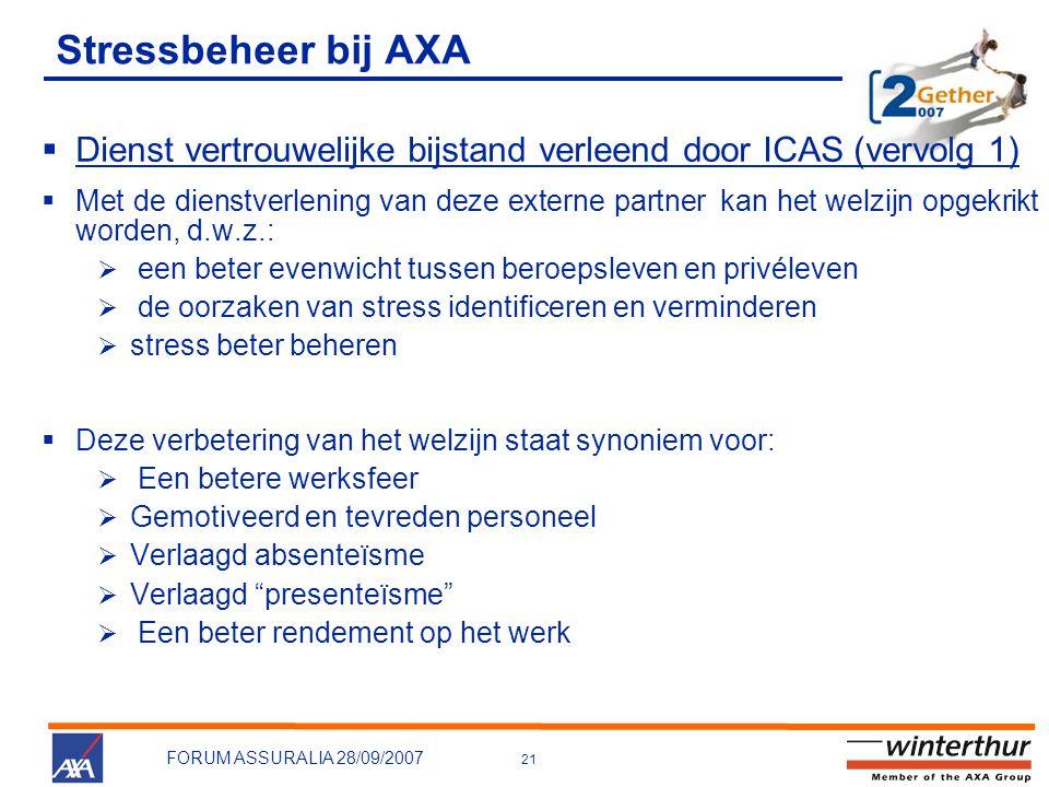 Stressbeheer bij AXA Dienst vertrouwelijke bijstand verleend door ICAS (vervolg 1)